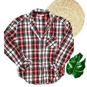 Victoria's Secret Button Down Plaid Flannel Dream Sleep Shirt Size Extra Small
